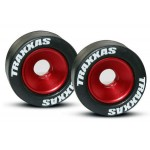 Traxxas 5186 Mounted Wheelie Bar Tires Red